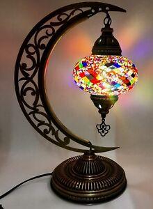 Moon Crescent Design Mosaic Lamp Turkish Moroccan Handmade Bedside & Table Lamp