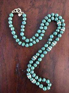"J Crew 30"" Necklace green beads rhinestone rings gold hardware beautiful! Signed"