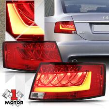 Chrome/Red *Tron LED Bar* Neon Tail Light Brake Lamp for 05-08 Audi A6/S6 C6 4F