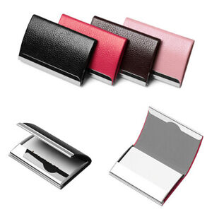 Aluminum Holder ID Card Box PU Leather Wallet Business Name Stainless Men