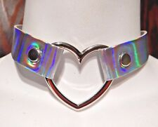 prismatic rainbow harajuku necklace 2B Silver Holographic Band Choker hologram