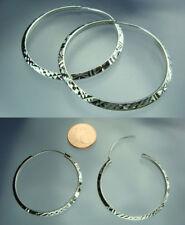 925 Silber rhodiniert Creolen 2,2 mm Breite / 36 mm Durchmesser musterung NEU