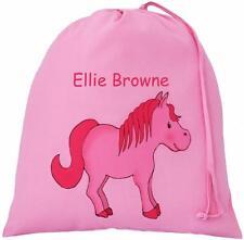 ROSA-personalizzato-Carino PONY DESIGN-GRANDE Cotone Coulisse Borsa-Cavallo