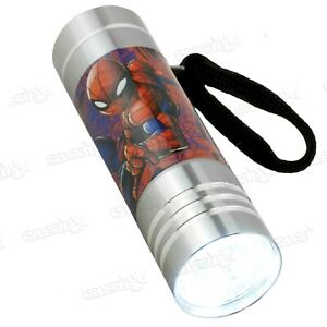 Licensed Disney Character Spiderman Flash Light Silver LED Torch Xmas Gift 3+Y