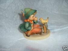 Goebel Hummel Figurine W.Germany Boy with horn and  bird