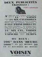 PUBLICITE AUTOMOBILE VOISIN LA 14 CV 24 SIX CYLINDRES RECORD DU MONDE DE 1927 AD