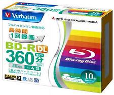 10 Verbatim Blu Ray Disc 50gb BD-R DL 4x Speed Dual Layer 3D Bluray Printable