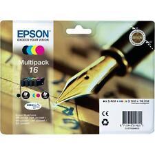 PACK 4x CARTOUCHE EPSON 16 NOIR CYAN MAGENTA JAUNE / stylo plume t16 noire t1626