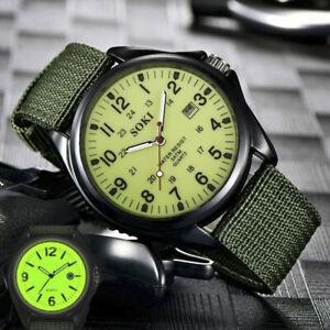 1pcs Armbanduhr Militär Herren Armee Stoff-Uhrenband Grün Quarz Watch Sport