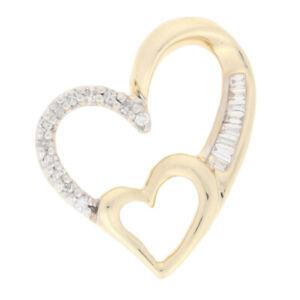 Yellow Gold Diamond Pendant - 10k Single & Baguette Cut .12ctw Two Hearts