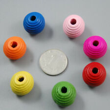 50Pcs Striped Style Wooden Beads 20mm Round rame Crafts Pastel Colour Bead