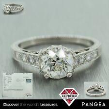1920s Antique Art Deco Platinum 2.00ctw Old European Diamond Engagement Ring EGL