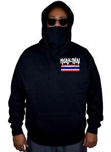 Men's Muay Thai Thailand Flag Black Fleece Mask Hoodie Karate Fighting MMA Beast