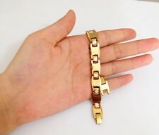 NEW yellow gold Color Solid Tungsten Carbide Mens bracelet CZ Link Bracelet TS77
