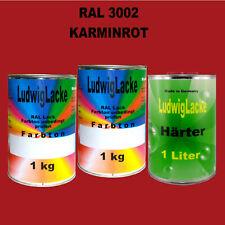 RAL 3002 Karminrot 3 kg Set Acryllack glänzend mit Härter