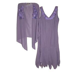 Roaman's Purple Sequins Embroidered Hankerchief Hem Dress 16W New Plus Size