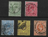 1911. Harrison Perf.14 Set of 5. Fine Used.  Ref:0272