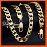 9K GOLD FILLED CUBAN CURB RINGS CHAIN SOLID MENS HEAVY CHUNKY BRACELET NECKLACE