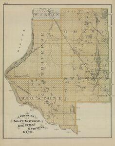 1874 Map:  Minnesota Counties of Grant, Traverse, Big Stone & Stevens