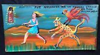 Mexican Folk Art Miguel Hernandez Lady Runs From Monster Nagual Retablo Ex Voto