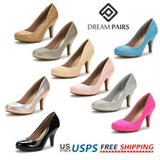 DREAM PAIRS Low Heel Pump Shoes Round Toe Formal Elegant Slip On Pump Shoes