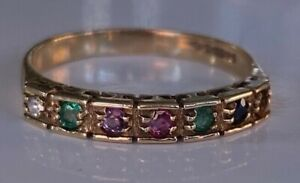 """DEAREST"" 9CT GOLD MULTI SET STONE DIAMOND SAPPHIRE EMERALD RUBY AMETHYST RING"