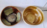 Set of 2 Pottery Ceramic Bowls Brown Drip Glaze Primitive