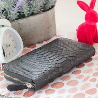 MIU Genuine PYTHON Snake Skin Leather / Purse Wallet Clutch / Zip Around / Black