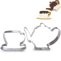 GI- FT- 2Pcs Teapot Tea Cup Set Cookie Cutter Stainless Steel Fondant Cake Mold
