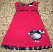 JOJO Maman BEBE Girls 6-12 Month BOUTIQUE JUMPER Corduroy DRESS Bird RED EUC
