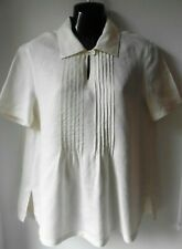 PENNY BLACK CREAM LINEN SMOCK FRONT TOP SIZE 12 IMMACULATE TU46