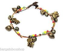 Girls Elephant Charm Rasta Bell Bead Ankle Bracelet Foot Anklet Hippy Boho