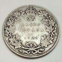 1929 Canada 25 Twenty Five Cents Quarter Canadian Circulated Coin D945