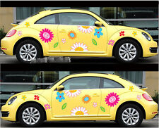 A Pair Flowers Car Cute Door Mirror Hood Vinyl Decal Sticker New