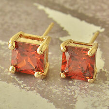 Lovely Square Red Ruby Stud Earrings Yellow Gold Filled Womens Cute Ear Rings