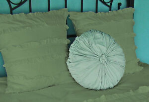 2Pc Mini Ruffle Pillow Shams 1000 TC 200% Egyptian Cotton Solid All Size & Color