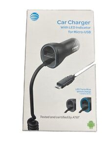 AT&T Universal Micro USB Car Charger With LED Indicator - Black