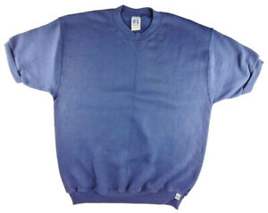 NWOT USA Vintage Russell Athletic Short Sleeve Sweatshirt (ADULT L NAVY) [R5-12]