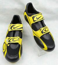 Nike Black Yellow 2 Hook & Loop Straps Cleats Road Bike Cycling Shoes Size 7.5