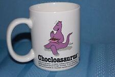 Chocolate Lover's Coffee White Vintage Mug Chocloasaurus Purple Dinosaur