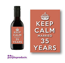 10x KEEP CALM 35TH CORAL ANNIVERSARY MINI WINE LABELS, MARRIED 35 YEARS