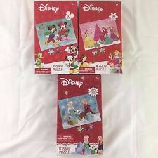 3 Disney Christmas 50 Piece Puzzles Mickey Minnie Princesses Frozen