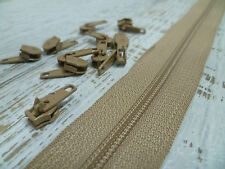 Upholstery Zip & Sliders - No.4 Continuous - Beige - 5 Metres - 10 Sliders