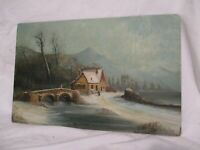 "Antique Oil Painting Country Scene Lora Mabel Warner On Board 12"" X 18 1/2"" NR"