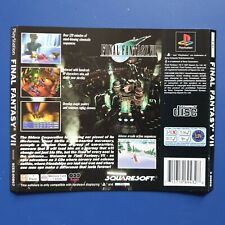 Final Fantasy 7 VII - Sony PlayStation One PS1 Rear Inlay Artwork
