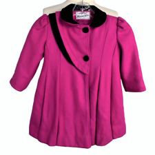 VTG Rothschild Girls 6 6X Wool Coat Relaxed LS Button Front Velvet Accents Pink