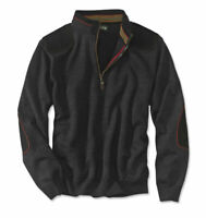 "ORVIS mens ""Upton"" charcoal 1/4 zip Merino wool pullover sweater, sz large, EUC"