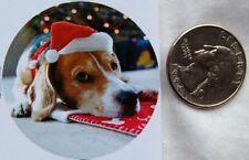 set 12 stickers round Christmas puppy BEAGLE dog santa hat sleepy