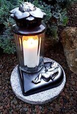 Silber - Grablaterne Grablampe Grableuchte  Grablicht Kerze Engel Grabstein