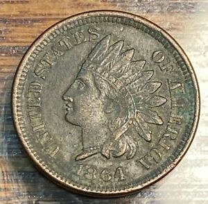 1864 Bronze Indian Cent XF Details 50% Below Greysheet CHN